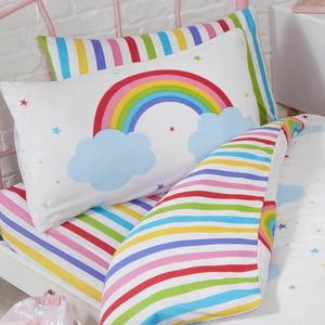 Rainbow Striped Toddler or Twin Kids Fitted Sheet & Pillowcase Set
