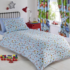 Train Tracks Kids Bedding Twin Duvet / Comforter Cover Set Reversible