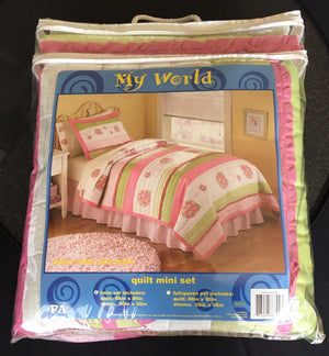 Embroidered Pink Green Stripe Twin Ladybug Girl Bedding Ruffled Cotton Quilt Set