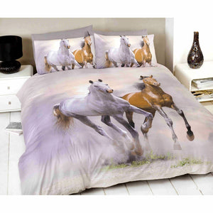 Two Prancing Horses Bedding Duvet / Comforter Cover Set Twin Full Queen Photo Print