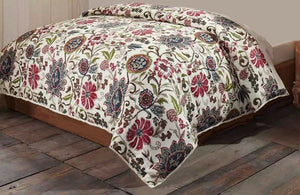 Indian Floral Print Queen Quilt Oversized Bedspread Cream Burgundy Green