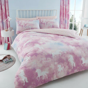 Pink Lilac Unicorn Dream Big Bedding Twin Full Queen Girl Duvet / Comforter Cover Set