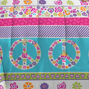 Pink Blue Peace Love Girls Bedding Twin or Full Comforter Set Bed in a Bag