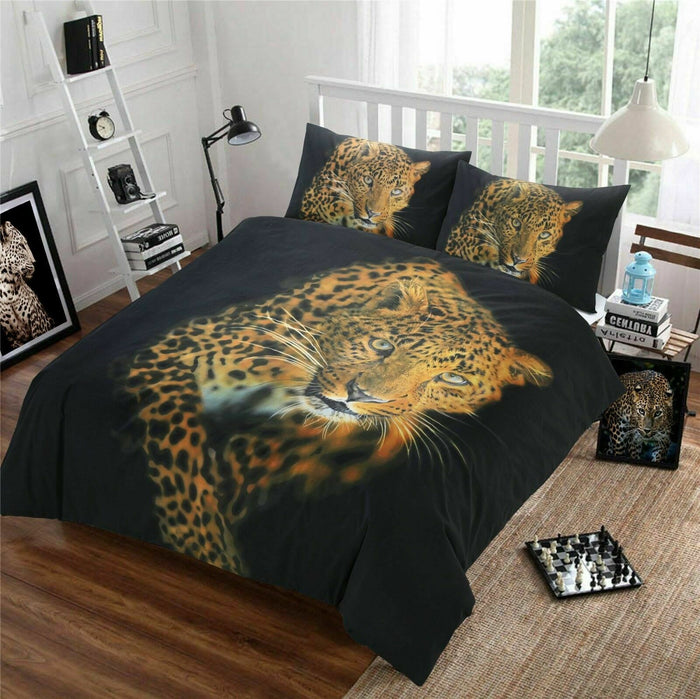 Prowling Black Leopard Bedding Duvet / Comforter Cover Set Twin Full Queen