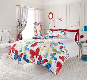 Red Blue Butterfly Girl Bedding Duvet / Comforter Cover Set Twin Full Queen King