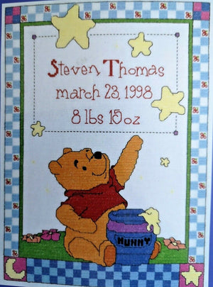 "Winnie The Pooh 'Wishing Star' Counted Cross Stitch Keepsake Baby Birth Announcement Record Kit Sampler 11"" x 14"""