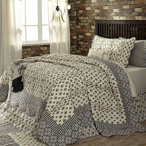 Luxury French Fleur-de-lis King Quilt Set VHC Brands Elysee Black Antique White