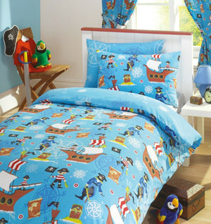 Sea Pirates Little Boys Bedding Twin Duvet Cover / Comforter Cover Set