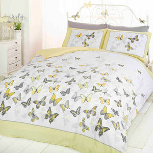 Yellow Butterfly Flutter Girl Bedding Duvet / Comforter Cover Set Full Queen