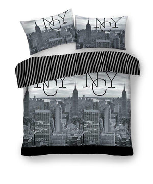 NYC New York Skyline Bedding Black White Photo Duvet/Comforter Cover Set Twin Full Queen King