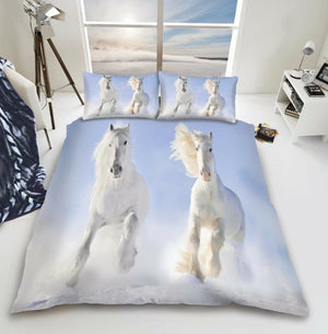 Prancing White Horses Bedding Duvet / Comforter Cover Set Full Queen Photo Print
