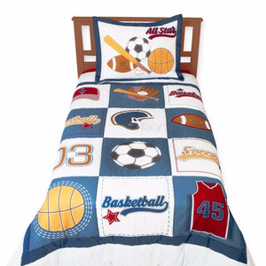 Blue Basketball Soccer Football Sports Bedding Twin Kids Cotton Comforter Set
