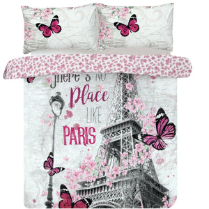 Paris Romance Bedding Twin Full Queen Duvet Cover Set Eiffel Tower Pink Flowers & Butterflies