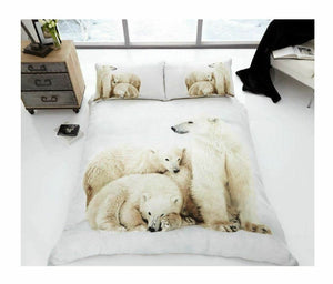 White Polar Bears Bedding Duvet / Comforter Cover Set Mother & Cubs Twin Full Queen Photo Print