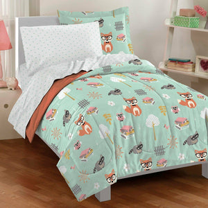 Woodland Friends Mint Green Bedding Comforter Set 5pc Twin Bed in a Bag Ensemble Fox Raccoon Owl
