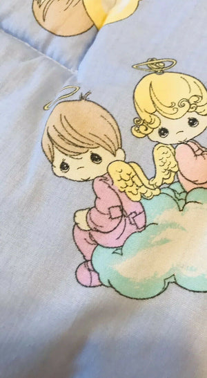 Vintage Precious Moments Angels Bless This Baby 4pc Nursery Collection - Crib Bedding Set, Musical Mobile