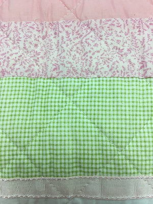 Soft Pink Green Floral Girl Bedding Twin Cotton Striped Embroidered Quilt Set