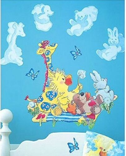Little Suzy's Zoo Baby Animals Nursery Wall Mural Decals Duck Bear Bunny Giraffe Pre-Pasted