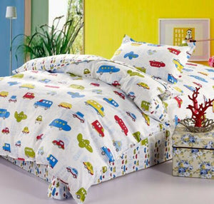 Transportation City Cars & Airplanes Boys Bedding Twin Duvet Cover Set White Red Blue