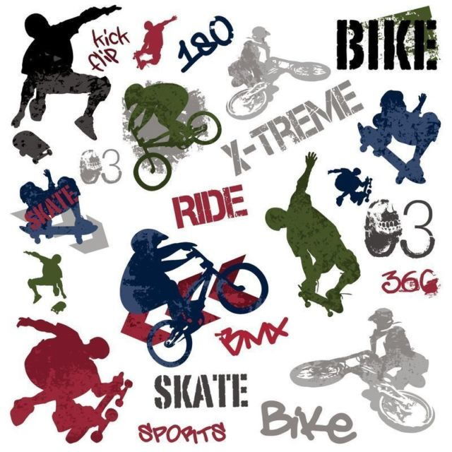 Extreme Sports Skateboarding Wall Decals Stickers Peel & Stick