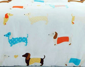 Sausage Dog Print Bedding Twin or Full Duvet Cover / Comforter Cover Set