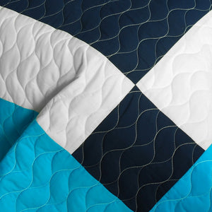 Modern Turquoise Blue White Patchwork Teen Boy Bedding Full/Queen Quilt Set - Detail