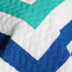 Blue White Turquoise & Hot Pink Geometric Teen Bedding Full/Queen Quilt Set Modern Bedspread