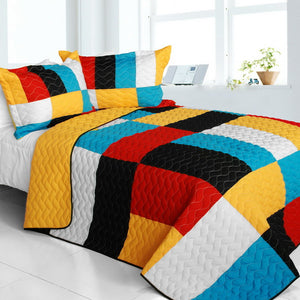 Yellow Blue Red Back White Geometric Teen Bedding Full/Queen Quilt Set Patchwork Bedspread