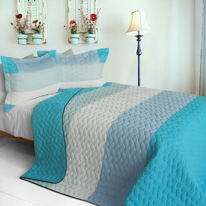 Turquoise Ocean Blue & White Teen Bedding Full/Queen Quilt Set Striped Modern Bedspread