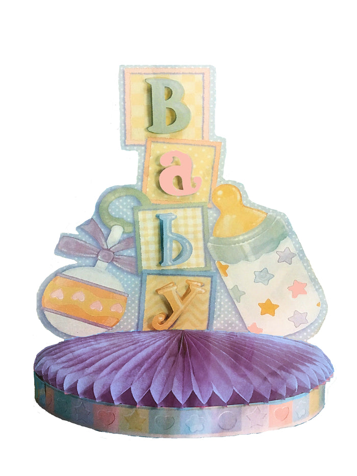 "Baby Shower - New Baby Paper Table Party Centerpiece 11.5"" with Letter Appliques"