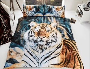 Siberian Tiger Bedding Duvet / Comforter Cover Set Full Queen Photo Print