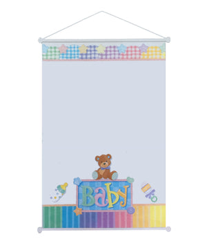"Baby Bear Baby Shower Party Sign-In Keepsake Sheet 19"" x 27"" Scroll"