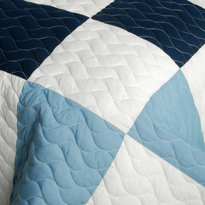 Blue White Patchwork Geometric Teen Boy Bedding Full/Queen Quilt Set