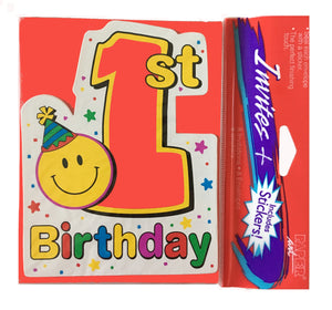 Smiley Face First 1st Birthday Party Invitation Cards 8 CT with Stickers