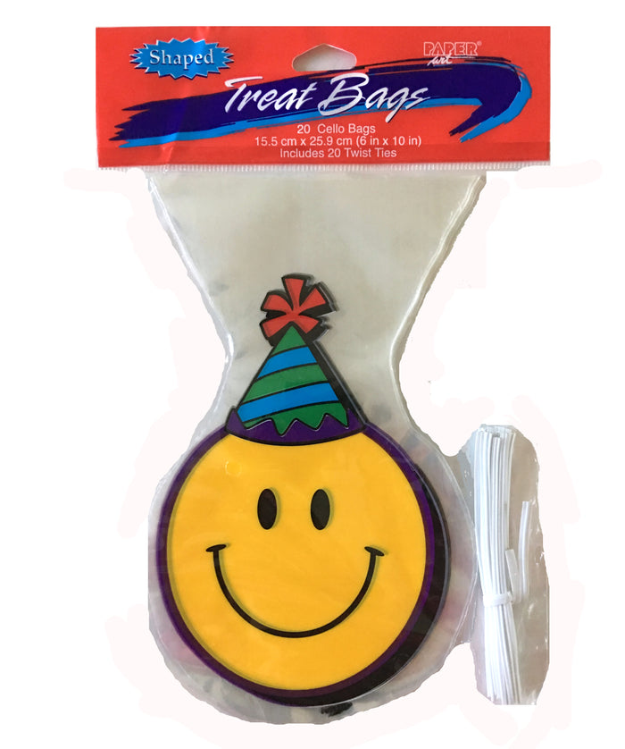 Smiley Face Shaped Cello Treat Party Bags with Ties 20 CT
