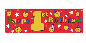 "Smiley Face First 1st Birthday Giant Red Plastic Party Banner 60"" x 20"""
