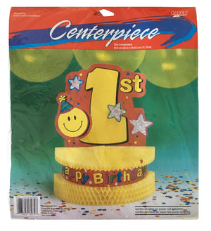Smiley Face First 1st Birthday Table Honeycomb Centerpiece 12""