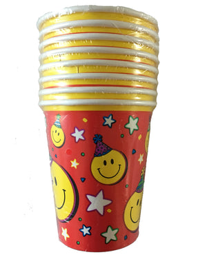 Smiley Face Red Yellow Party Paper Cups 8 CT