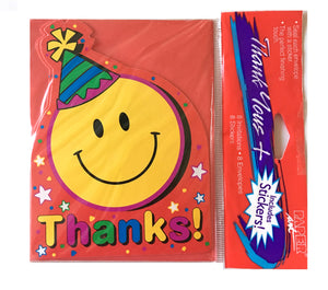 Smiley Face Birthday Party Die Cut Thank You Cards 8 CT with Stickers