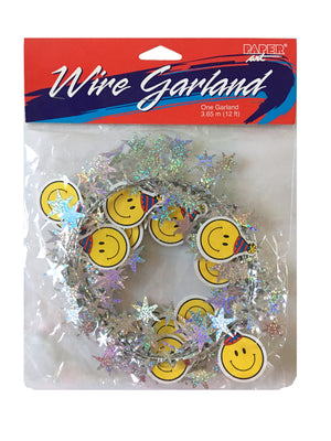 Smiley Face Birthday Party Wired Garland 12 FT with Prismatic Stars