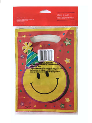 Smiley Face Treat Party Loot Bags 8 CT Red Yellow Metallic