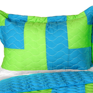 Turquoise Blue Green & White Striped Teen Bedding Full/Queen Quilt Set - Pillow Sham