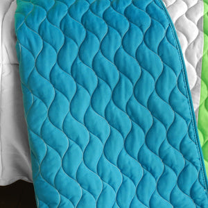 Turquoise Blue Green & White Striped Teen Bedding Full/Queen Quilt Set - Back