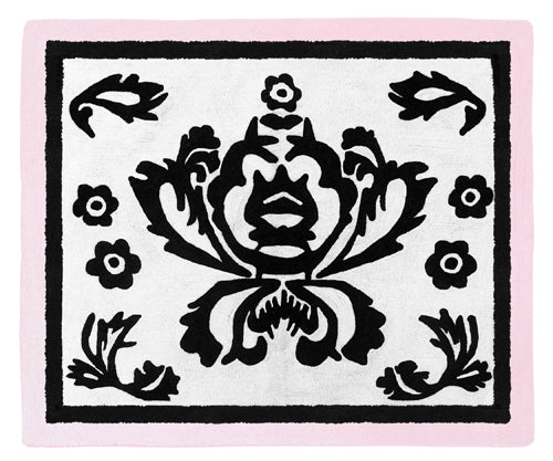 Black White Scroll & Pink  Soft Accent Floor Area or Bath Rug
