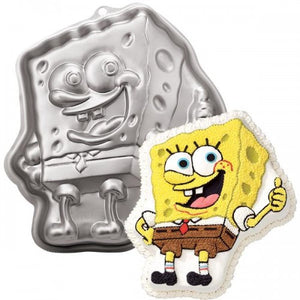 "Spongebob Aluminum Molded Cake Pan 13"" with Instructions"