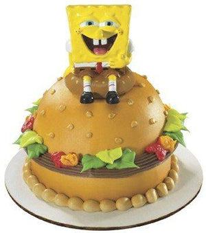 "Spongebob Squarepants on Krabby Patty Cake Topper 2 1/4"" with Stickers"