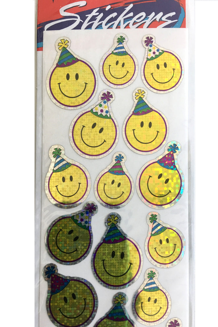 Birthday Smiley Face Glitter Stickers 22 CT Scrapbook or Party