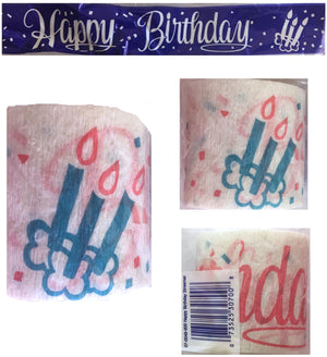 Happy Birthday Party Crepe Streamer 30 FT (10 Yards) Pink Script with Blue Birthday Candles