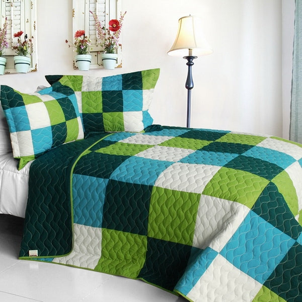 Green Blue White Patchwork Teen Boy Bedding Full/Queen Quilt Set Geometric Modern Bedspread