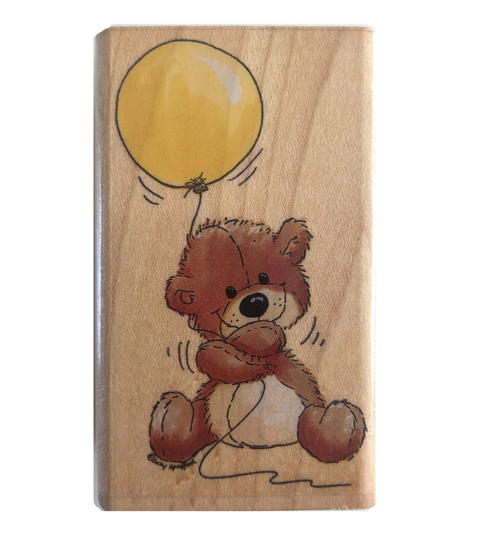 Suzy's Zoo Willie Bear with Balloon Wooden Rubber Stamp